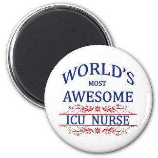 World's Most Awesome ICU Nurse 6 Cm Round Magnet