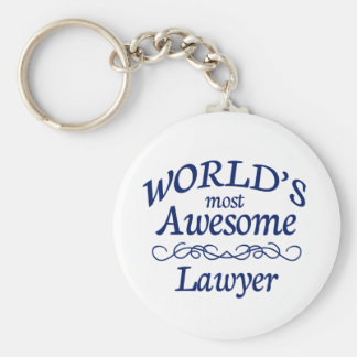 World's Most Awesome Lawyer Basic Round Button Key Ring