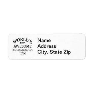 World's Most Awesome LPN Return Address Label