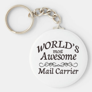 World's Most Awesome Mail Carrier Basic Round Button Key Ring