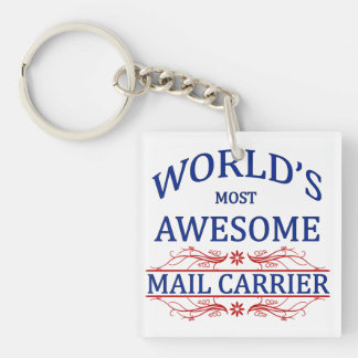 World's Most Awesome Mail Carrier Square Acrylic Keychains