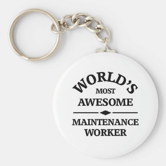 World's most awesome Maintenance Worker Basic Round Button Key Ring