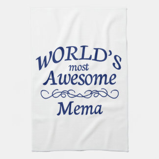 World's Most Awesome Mema Tea Towel