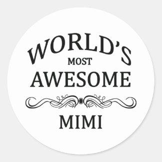 World's Most Awesome Mimi Round Sticker