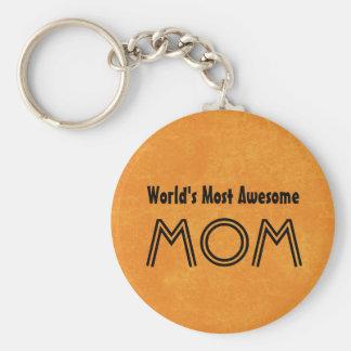 World's Most Awesome MOM Bright Orange Gift Set Key Ring