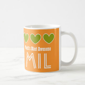 World's Most Awesome MOTHER IN LAW Hearts MIL Coffee Mug