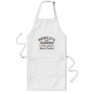 World's Most Awesome Music Teacher Long Apron