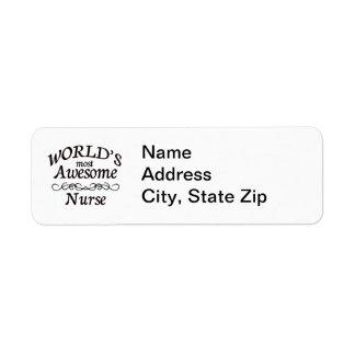 World's Most Awesome Nurse Return Address Label
