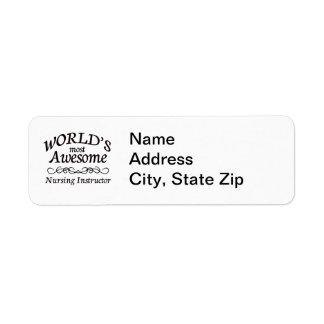 World's Most Awesome Nursing Instructor Return Address Label