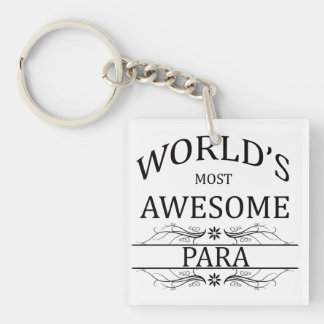 World's Most Awesome Para Single-Sided Square Acrylic Key Ring