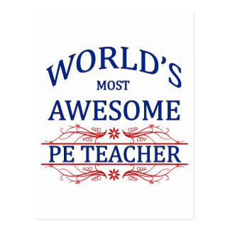 World's Most Awesome PE Teacher Postcard