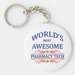 World's Most Awesome Pharmacy Tech Basic Round Button Key Ring