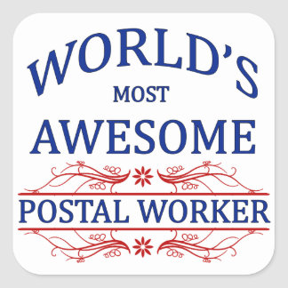 World's Most Awesome Postal Worker Square Sticker