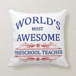 World's Most Awesome Preschool Teacher Cushion