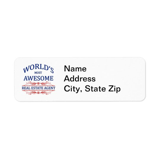 World's Most Awesome Real Estate Agent Return Address Label