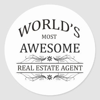 World's Most Awesome Real Estate Agent Round Stickers