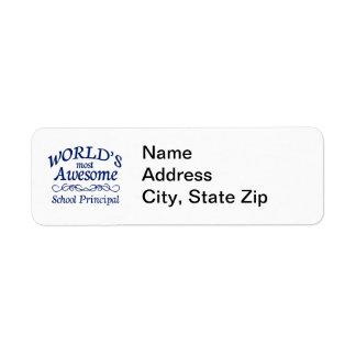 World's Most Awesome School Principal Return Address Label