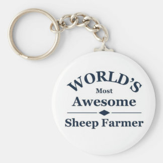 World's most awesome sheep farmer basic round button key ring