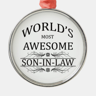 World's Most Awesome Son-in-Law Silver-Colored Round Decoration