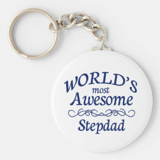 World's Most Awesome Stepdad Basic Round Button Key Ring