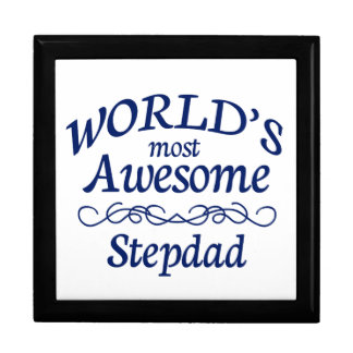 World's Most Awesome Stepdad Large Square Gift Box