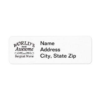 World's Most Awesome Surgical Nurse Return Address Label