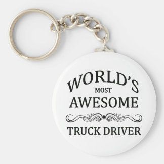World's Most Awesome Truck Driver Basic Round Button Key Ring