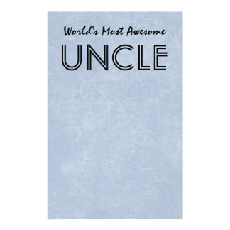 Worlds Most Awesome Uncle Blue Grunge Gift Item Personalised Stationery