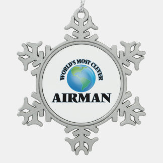 World's Most Clever Airman Pewter Snowflake Decoration
