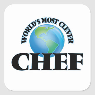 World's Most Clever Chef Square Stickers