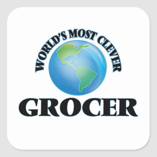 World's Most Clever Grocer Square Stickers