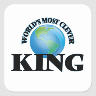 World's Most Clever King Square Stickers