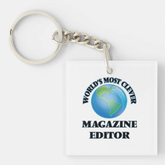 World's Most Clever Magazine Editor Square Acrylic Key Chain