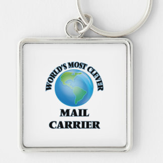 World's Most Clever Mail Carrier Silver-Colored Square Key Ring