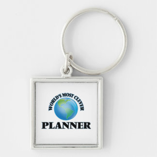 World's Most Clever Planner Silver-Colored Square Key Ring