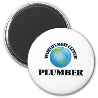 World's Most Clever Plumber 6 Cm Round Magnet