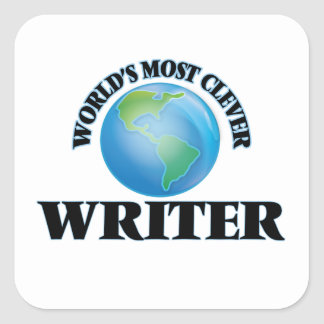 World's Most Clever Writer Square Stickers