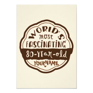World's Most Fascinating 80-Year-Old Brown Peach 13 Cm X 18 Cm Invitation Card