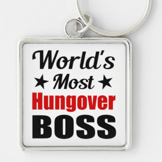 World's Most Hungover Boss Funny Drinking Silver-Colored Square Key Ring
