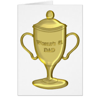 World's Number One Dad Championship Trophy Greeting Card