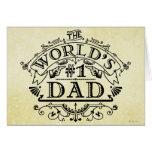 World's Number One Dad Vintage Personalised Greeting Card
