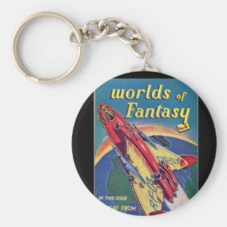 Worlds of Fantasy No. 6 _August 1952_ Bri Pulp Art Basic Round Button Key Ring