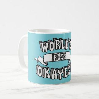 World's Okayest Boss Funny Text Mug