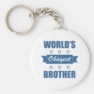 World's Okayest Brother Basic Round Button Key Ring