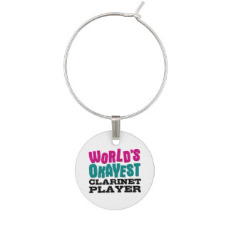 World's Okayest Clarinet Player Wine Glass Charms