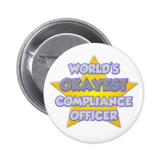 World's Okayest Compliance Officer .. Joke 6 Cm Round Badge