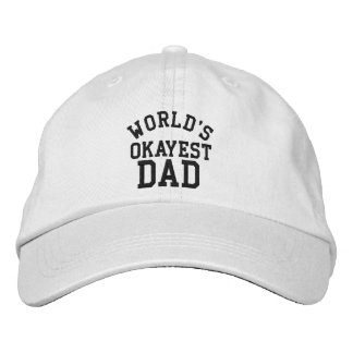 World's Okayest Dad Father's Day Funny hat for Dad Embroidered Baseball Cap