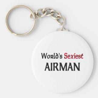 World's Sexiest Airman Basic Round Button Key Ring