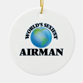 World's Sexiest Airman Round Ceramic Decoration
