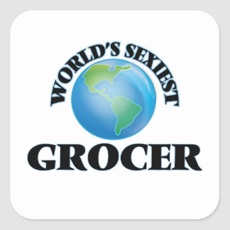 World's Sexiest Grocer Square Stickers